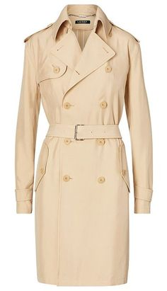 """lauren trench coat by Ralph Lauren. In structured twill, this sleek and sophisticated coat is a modern take on the timeless trench. US size 8 has a 41"""" back body length, a 46"""" bust, and a 33"""" sleeve length. Back body length and sleeve length are taken from the center back ... #ralphlauren #coats #outerwear"""