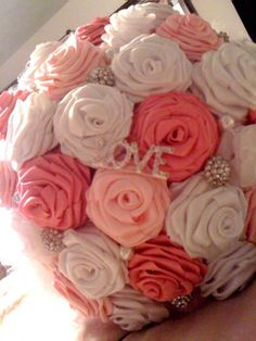 Ribbon Rose Bouquet : wedding bouquet bridesmaids ceremony diy flowers pink ribbon roses What a great idea Diy Flowers, Fabric Flowers, Fabric Bouquet, Ribbon Bouquet, Flower Ideas, Our Wedding, Dream Wedding, Wedding Dreams, Wedding Things