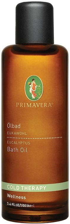 Primavera Organic Eucalyptus Cold Therapy Bath Oil this comforting bath oil works as a vapour soak to help relieve respiratory trouble. Organic Eucalyptus Essential Oil: contains antibacterial qualities to effectively relieve respiratory problems associated with cold symptoms. Organic Thyme Essential Oil: purifies air with a warming, invigorating scent. Organic Lavender Essential Oil: comforts the mind and supports relaxation. Vegan.