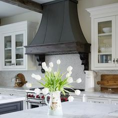 Sanctuary Home Decor - Home Decor and Design Inspiration - French-Country-Kitchen-Vent-Hood - Kitchen Vent Hood, Country Kitchen Cabinets, Country Kitchen Farmhouse, Country Kitchen Designs, French Country Kitchens, French Kitchen, Kitchen Floors, Farmhouse Kitchens, French Farmhouse