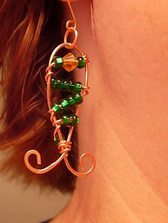 copper wirework fish earrings