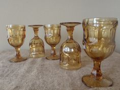 5 Amber Goblets  by Libby / Retro Vintage 70s glasses barware stemware by Feisty Farmers Wife