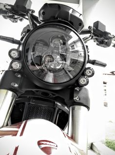 Ducati Monster 796 custom and headlight replacement by Kenstomoto Cafe Racer street fighter https://www.facebook.com/kenstomoto/