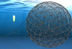 The floating geodesic ball of fish is actually a test of a new, self-propelled offshore aquaculture cage developed by Searsmont, Maine-based Ocean Farm Technologies Inc. and the MIT Sea Grant Offshore Aquaculture Engineering Center.