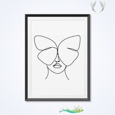 Abstract woman face with butterfly wall decor print. One line drawing. Minimalist art. Bedroom decor. Sweet dreams. Black and white style. Abstract woman face with butterfly wall decor print. One line drawing. Minimalist art. Bedroom decor. Sweet dreams. Black and white style.<br>