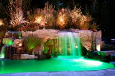 Any pool can become unique swimming pool design ideas if you take the time to decorate the surrounding area by adding items. We will discuss four unique swimming pool design ideas for your home and share why they may be the best choice for you. Swimming Pool Waterfall, Swimming Pool Lights, Luxury Swimming Pools, Luxury Pools, Dream Pools, Swimming Pools Backyard, Swimming Pool Designs, Pools Inground, Lap Pools
