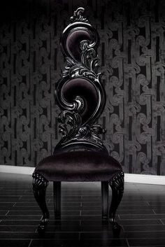 Black Velvet Baroque High Back Chair Amazing chair. Imagine these around a long black dinning table. Black Velvet Baroque High Back Chair Amazing chair. Imagine these around a long black… Gothic Furniture, Funky Furniture, Unique Furniture, Furniture Decor, Gothic Chair, Gothic Interior, Gothic Home Decor, Interior Design, Baroque Decor