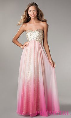 Dress for girls going to Prom. Strapless Sequin Ombre Gown by Jump 340 at PromGirl.com