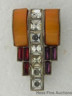 Fantastic Vintage Art Deco 1930s Bakelite Rhinestone Czech Ladies Brooch Pin | eBay