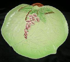 Carlton Ware Foxglove Green Leaf Shaped Plate 1904 via Etsy:
