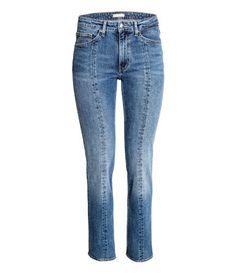 Straight Regular Ankle Jeans | Blau/Biesenfalten | Damen | H&M DE