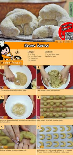 Everyone's childhood favorite, theSnow horns! We brought you this recipe so that you can surprise your whole family with this dessert! You can easily find the recipe by scanning the QR code in the top right corner! :) #SnowHorns #Dessert #Desserts #Christmas #Food #Recipe #ChristmasFoods #Easy #RecipeVideos
