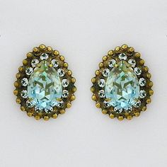 Sorrelli Afterglow Collection. Vintage teardrop crystal post earrings in Indian Sapphire offer color & style for any wearing occasion.