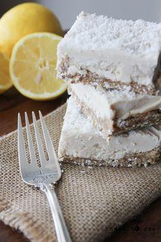 Raw Lemon Coconut Cream Bars. Vegan. Gluten Free. @IamRunner