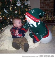 Snowman goes after baby...poor little guy...;) - Imgur