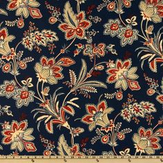 Screen printed on cotton duck; this versatile, medium weight fabric is perfect for window accents (draperies, valances, curtains and swags), accent pillows, duvet covers,  upholstery and other home decor accents. Colors include crimson red, ivory, khaki and tan on a navy background.