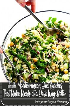this HerbLovers Lemony Orzo Salad recipe Its filled with lots of fresh basil mint cucumber red onion chickpeas and feta Its naturally vegetarian and vegan if you nix the. Lunch Recipes, Dinner Recipes, Cooking Recipes, Healthy Recipes, Healthy Salads, Vegan Recipes Summer, Health Food Recipes, Medeteranian Recipes, Food52 Recipes