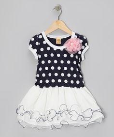 Navy & White Polka Dot Tutu Dress
