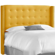 Cadence Linen French Yellow Nail Button Tufted Wingback California King Headboard , EMFURN - 1
