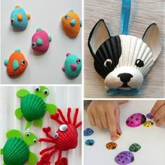 Wondering what to do with the seashells from the beach this summer? Find lots of seashell crafts for kids in this DIY kids' crafts collection and enjoy! Quick And Easy Crafts, Easy Crafts For Kids, Crafts To Do, Diy For Kids, Arts And Crafts, Seashell Crafts Kids, Beach Crafts, Winter Crafts For Kids, Summer Crafts
