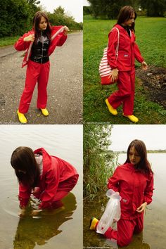 See that brunette-haired beauty strolling through the shores of a lake and accidentally getting wet in her black pvc shirt, Rukka rainsuit and wellies. Rain Pants, Rain Jacket, Rain Fashion, Pvc Raincoat, Rain Gear, Getting Wet, Girls In Love, Girls Wear, Lady In Red