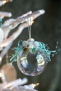 Clear Ball Beach Shell Ornament