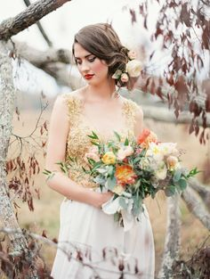 Autumnal bridal portrait with a gold wedding dress and poppy bouquet | Brandi Smyth Photography for @Gina Rau Magazine | see more on: http://burnettsboards.com/2014/04/field-dreams-editorial-smitten-magazine/
