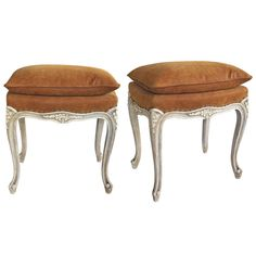 Elegant and Well-Carved Pair of French Louis XV Style Ivory Painted Stools | From a unique collection of antique and modern stools at https://www.1stdibs.com/furniture/seating/stools/