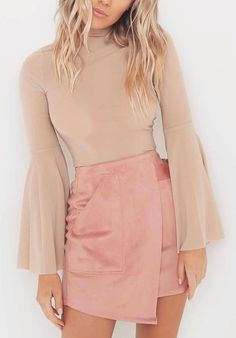 #spring #outfits  Blush Bell Sleeve + Pink Wrap Skirt