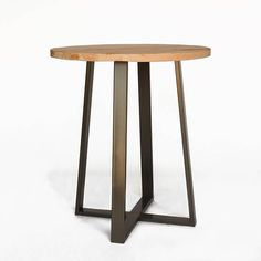 Vintage Wood Bar Height Table, Counter Height Table, Pub Table made with reclaimed wood and steel pedestal. Choose size, height and finish.