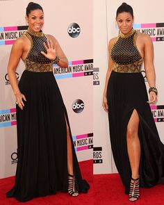 Jordin Sparks wearing Jovani Couture gown at the 2013 American Music Awards on November 24, 2013