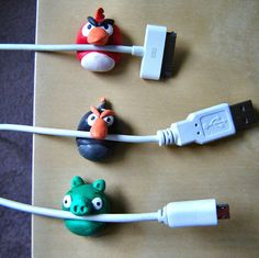 angry birds cable holders! adorable and easy.