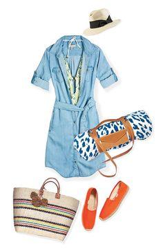 Un vestido camisero y unas alpargatas son prendas casuales que equilibran lo sexy de un traje de baño de gran escote. Combina tu look con una bolsa print. #TheLook #Fashion