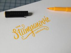 brush lettering for a wedding. this is the couple's hybrid celebrity name; her name was stump his is stipanovic.  you can view the preview here or here  beautiful photo (from up ^ here) by Pangtogr...