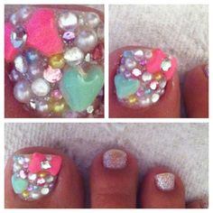 Pastel, bling, deco, pink bow, mint heart, pearls, decoden, nail art, nails...