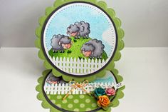 (Beate Johns) Easel card tutorial with measurements for various shapes and sizes.