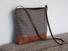 Crossbody bag canvas and vegan leather slouchy door FidelioBags