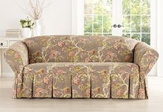 Sure Fit Slipcovers Casablanca Rose by Waverly<sup><small>TM</small></sup> One Piece Slipcovers - Sofa Furniture Covers, Upholstered Furniture, Diy Furniture, Dining Room Seat Covers, Couch Covers, Sure Fit Slipcovers, Slipcovers For Chairs, Small Couch, Home Trends