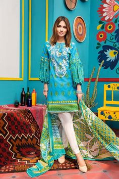 4e3371afe3 Beautiful blue 2 piece unstitched dress by Gul Ahmed Printed prets 2018
