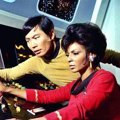 Hikaru and Nyota. Best Sci Fi Series, Star Trek Tv Series, Star Trek Original Series, Star Wars, Star Trek Tos, Star Trek 50th Anniversary, Star Trek Crew, Start Trek, Nichelle Nichols
