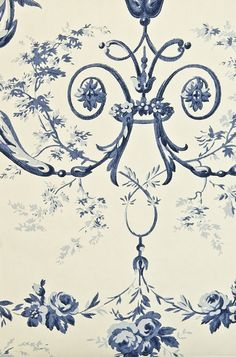Toile d'Albert Wallpaper Traditional French floral wallpaper with architectural motifs in light cream and rich ink blue