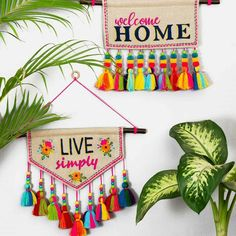 Quotation Wall art embroidered triangular linen wall art with multicolour tassels Diy Crafts Hacks, Diy Crafts For Gifts, Diy Home Crafts, Diy Arts And Crafts, Craft Stick Crafts, Yarn Crafts, Decor Crafts, Crafts For Kids, Paper Crafts