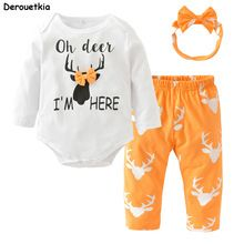 Christmas Baby Girl Clothes Newborn Baby Girls Clothing Sets Long Sleeve Deer Bodysuit and Pants Toddler Outfits with Headband(China) https://presentbaby.com