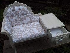 chaise telephone table re-upholstered and distressed. done by myself