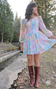80s Pastel Floral Mini Dress with Sheer Sleeves by VioletFolklore, $34.00