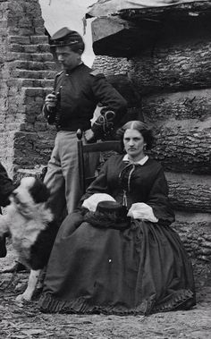 Civil War Union officer, his wife & dog. American Civil War