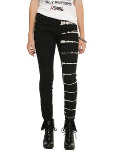 Royal Bones By Tripp Black Tie Dye Split Leg Skinny Jeans,