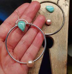 Lifou silver hoop earrings with amazonite & pearl Silver Hoops, Silver Hoop Earrings, Alex And Ani Charms, Charmed, Pearls, Bracelets, Jewelry, Bangle Bracelets, Jewellery Making