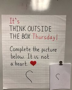Teaching classroom - It's Think Outside the Box Thursday 🙌 Complete the picture One thing is for sure It's not a heart From a soup ladle to swans to Captain… Future Classroom, School Classroom, Classroom Activities, Classroom Organization, Classroom Management, Art School, Fun Office Activities, Classroom Ideas, Responsive Classroom