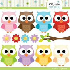 Items similar to Cute Owls Variety - Clip Art Set Digital Elements for Cards, Stationery and Paper Crafts and Products on Etsy Owl Crafts, Diy And Crafts, Crafts For Kids, Paper Crafts, Owl Clip Art, Owl Art, Owl Classroom, Classroom Decor, Owl Birthday Parties